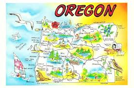 postcards oregon u s a map