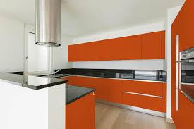 white kitchen cabinets orange walls integrated c and l handles no door pulls kitchen cabinet