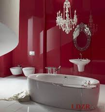 bathroom energizing color inspiration together with bathroom sleek red color with wall panels and elegant chandelier design what