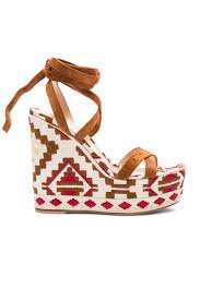 gianvito rossi printed suede wedges in brown lyst