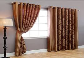 Double Panel Shower Curtains 2 Panels Big Window Curtains Present In Coffee Color Wide 130