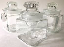 clear glass canisters for kitchen vintage small clear glass canister jar collectible