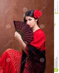 flamenco dancer woman gipsy red rose spanish fan royalty free