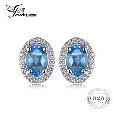 blue topaz stud earrings jewelrypalace classic 1ct oval blue topaz stud earrings