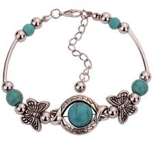 silver bead bangle bracelet images Yazilind vintage tibetan silver rimous green turquoise inlay jpg