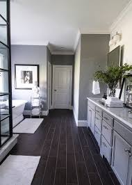 Wood Floors In Bathroom by Black Bathroom Tile Ideas Brown Laminated Wooden Vanity Sleek