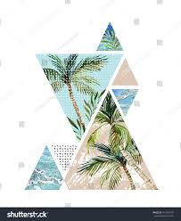 abstract summer background triangle palm tree stock illustration