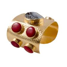 handmade natural stone u0026 brass cuff with red coral from istanbul