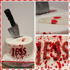 6 inch square dexter themed cake with fondant knife and boiled