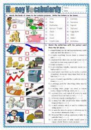 worksheet money vocabulary part 1