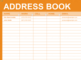 Microsoft Excel Address Book Template Free Excel Template Personal Address Book Organizing