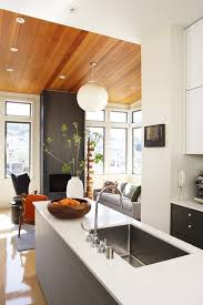 san francisco mid century modern ceiling kitchen contemporary with fireplace walnut bar height stools