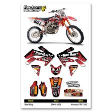 motocross bikes honda 2004 2009 honda crf 250 bad boy motocross graphics dirt bike decal