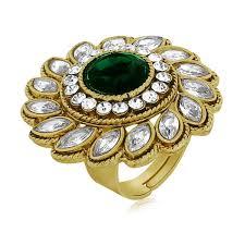 finger ring design buy spargz floral design finger ring studded with green aifr