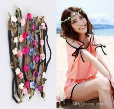 headband flowers online cheap fashion handmade floral leaves hair band flower
