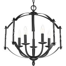 Rustic Candle Chandeliers Shop Progress Lighting Greyson 21 5 In 5 Light Black Rustic Candle