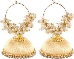 lotan earrings silk thread jhumkas buy silk thread jhumkas online at best