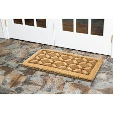 decorating cozy beige coir doormat on unilock pavers for