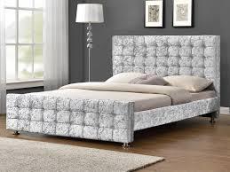 Velvet Bed Frame Baratheon King Size Silver Crushed Velvet Glitz Fabric Bed Frame