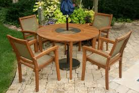 Stone Top Patio Table by Round Eucalyptus Hardwood Table With Slate Lazy Susan