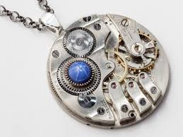 sapphire star necklace images Steampunk necklace silver pocket watch movement gold gears blue jpg
