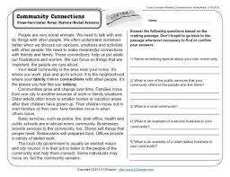 community connections 3rd grade reading comprehension worksheet