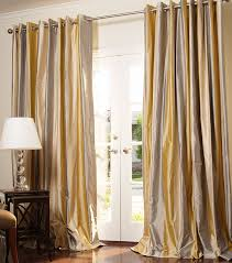 3 Panel Window Curtains Striped Silk Drapes Drapestyle Com