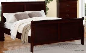 Cherry Wood Sleigh Bed Opulent Design Cherry Wood Bed Frame King Size Cherry Finish Beds