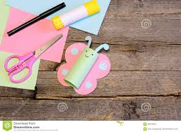pretty paper butterfly scissors marker glue stick colorful