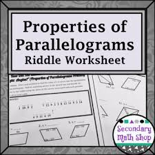 quadrilaterals properties of parallelograms riddle worksheet tpt
