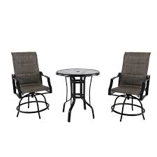 hampton bay statesville 3 piece steel outdoor bistro set