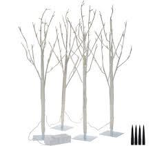 kringle express set of 4 lit 3 birch or tree branch