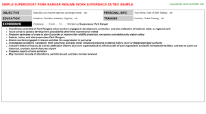 supervisory park ranger resume sample