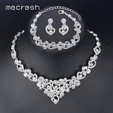 bridal necklace sets silver images Heart crystal wedding bridal jewelry sets silver color rhinestone jpg