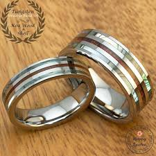 koa wedding bands pair of tungsten wedding band set with abalone shell koa wood