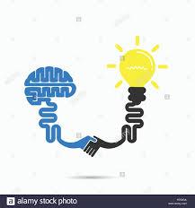 brain u0026 light bulb symbol brainstorm partnership u0026 teamwork idea