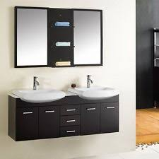 wall mount floating 60 inch double sink bathroom vanity espresso