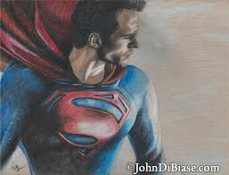 colored pencil sketch of henry cavill as superman in u201cman of steel