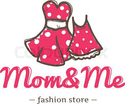 vector retro style two dresses for mother and daughter logo