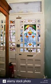 stained glass door windows stained glass door art nouveau style house in west london stock