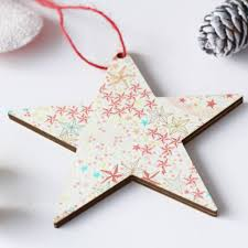 liberty print personalised christmas tree decoration by cotton