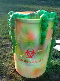 biohazard halloween prop made from plastic barrel spray paint