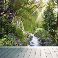 tropical rainforest waterfall wall mural photo wallpaper relax tropical rainforest waterfall wall mural photo wallpaper relax calm birds large 1500mm x 1150mm