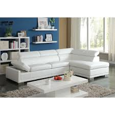 cleon sectional sofa in white bonded leather match 51165 acme