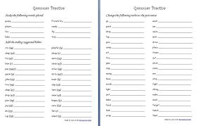 grammar practice sheets plurals endings past tense verbs