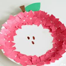fine motor paper plate apple craft a dab of glue will do