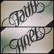 stylish hope faith ambigram tattoo drawings tattooshunter com