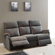 canapé relax tissus 3 places canapé relax électrique 3 places tissu gris esos l 196 x l 101 x