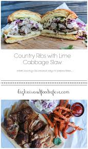 country ribs with lime cabbage slaw and easy sweet potato fries