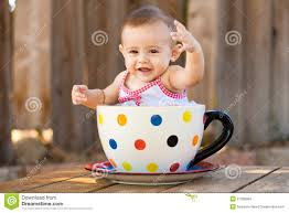 Cute Child by Happy And Cute Baby In Giant Teacup Stock Images Image